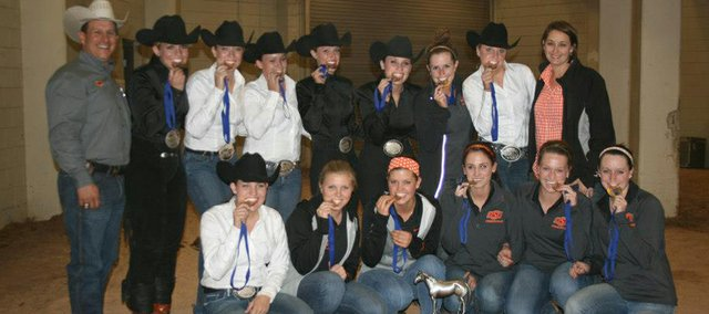 Baldwin High School class of 2012 member Paris Nottingham (third from left in the front row) was a member of the Oklahoma State University equestrian team that won the Big 12 Championship and the Western competition at the national finals.
