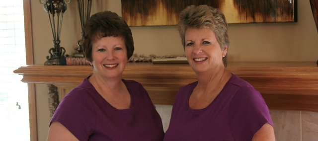 "Twin sisters Mary Leonard, left, and Marie Heath are co-founders of ""The Twin Touch,"" a home decor and estate sale business in Kansas and Missouri. Leonard currently lives in the sisters' hometown of Basehor, while Heath lives near the Lake of the Ozarks in Missouri."