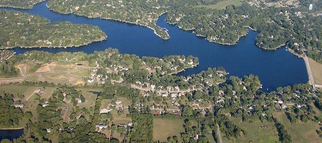 Lake Waukomis, a popular weekend destination for area residents, is northwest of Kansas City.