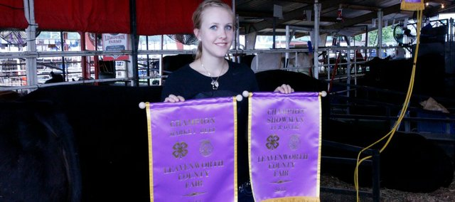 Jody Baragary, a 2013 Tonganoxie High School graduate, won grand champion in the market beef show for the fourth time at this year's Leavenworth County Fair.