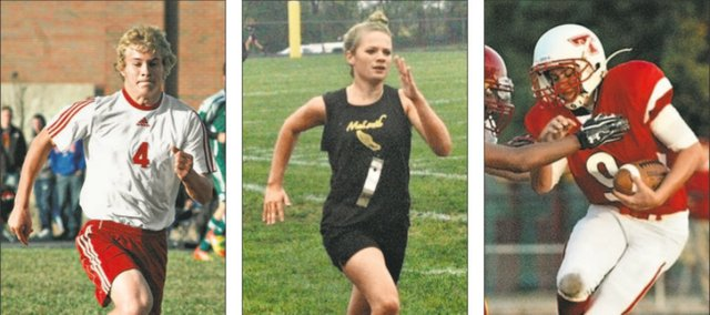 Asher Huseman, left, Savannah Noble, center, and Tyler Ford are three local athletes to keep an eye on when fall sports get under way. Tonganoxie and McLouth each have several athletes poised for big seasons in 2013.