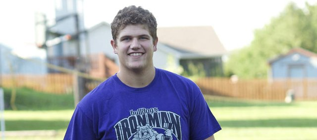 Baldwin High School junior Christian Gaylord received his first scholarship offer to play football at a BCS school from Kansas State University. Gaylord attended camps this summer at K-State, Kansas University and four other schools and is waiting to see what other offers come his way before committing.