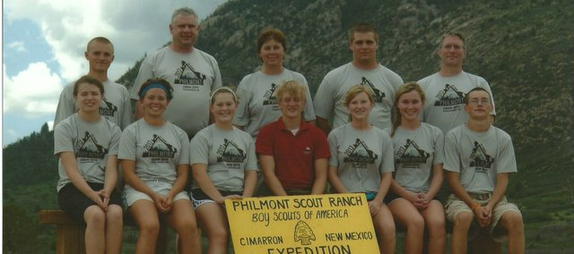 Eleven members of venturing crew 2075 of Tonganoxie recently completed a 10-day, 67-mile trek through the Philmont Scout Ranch. Pictured, front row, from left, Kennedy Morey, Aly Bartholomew, Emma DeMaranville, Greg Sullivan (Philmont staff member), Shannon Olson, Jo Kissinger and Dylan Olson; back row, from left, Greg Gast, advisers Burt Morey and Ursula Kissinger, Zeke Kissinger and adviser Martin Olson.