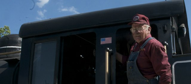 John Gramling steps down from the cab of the vintage steam locomotive Hank he and his son restored soon after it was unloaded Tuesday at the Midland Railway yard. Hank will be the centerpiece of Midland Railroad's annual Railfest set for the weekend.