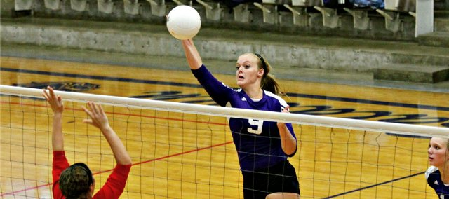 Jordan Hoffman had a team-high 16 kills in Baldwin's sweep of Tonganoxie Thursday at BHS.