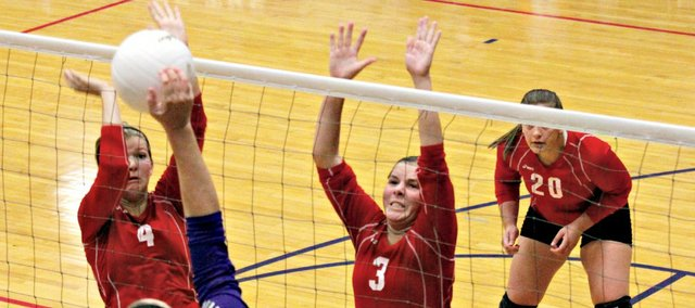 The Tonganoxie High volleyball team couldn't find an answer for Baldwin's height in a straight-set loss Thursday at BHS.
