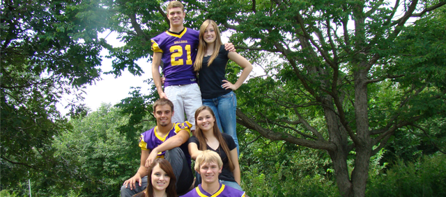 McLouth High School will have its homecoming game at 7 p.m. Friday at Stan Braksick Sports Complex against Doniphan West. Homecoming candidates are, front row, form left, Sarah Petrie, daughter of Russell and Vickie Petrie, andColton Koch, son of Jeff and Kay Koch; middle row, from left, Brady Sullivan, son of Andy and Cory Sullivan, and Konner Patterson, daughter of Ballard and Lorie Patterson; back row, from left, Drw Cerny, son of Jeff and Kay Koch and Kirk and Kelly Cerny, and Kayla Steffey, daughter of Monte and Danelle Steffey.