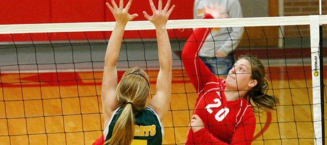 Leah Miller and the Tonganoxie High volleyball team fell to Basehor in straight sets on Tuesday.