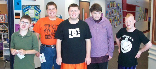 Special education students who work at Bonner Springs Elementary are (from left) Dylan Clark, Steven Shonkwiler, Cody Crider, Sean Holley and Jacob Sopher.