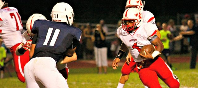 Cole Holloway ran for 105 yards in Tonganoxie's 27-7 loss Friday at Mill Valley.
