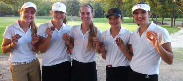 On Oct. 1, the BLHS girls golf team placed third at Santa Fe Trail's golf tournament. From left, Jordan Blackwood, Marriah Clayton, Julie Lough, Hanna Dickey, and Chandley Easley.