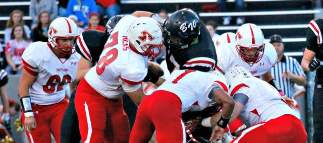 The Tonganoxie High defense limited Bishop Ward to just 164 yards — 20 in the second half — in a 55-6 win Friday at BWHS.