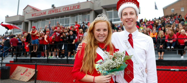 Charlotte Belshe and Austin Baragary stand on the Greene Stadium track at a recent William Jewell College football game. They were named Homecoming royalty at the Liberty, Mo., school. Baragary is a 2010 Tonganoxie High School graduate.
