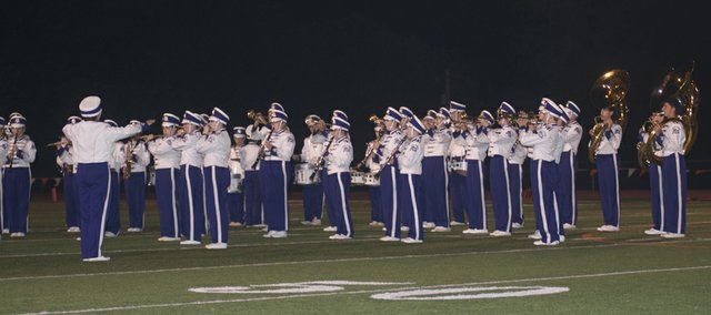 The Baldwin High School Marching Band entertains during halftime of Friday's Homecoming football game. The band will be among those vying for ratings Wednesday at the Baker University marching band festival at Liston Stadium.