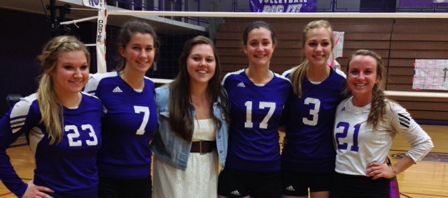 Tuesday's three-set victory against De Soto was last home match for six Baldwin High School volleyball team members. Recognized on senior night were (from left) Jenna Irey, Mickayala Starkey, manager Raeanna Duncan, Lainey Rochester, Morgan Lober and Madeline McCrary.