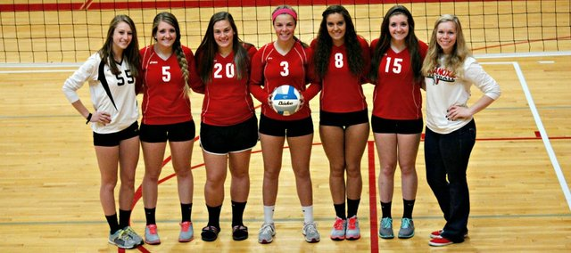 Saturday's sub-state volleyball tournament will be the final home action for seven Tonganoxie High seniors. Pictured, from left, are Marissa Martin, Kaylin Nelson, Leah Miller, Morgan Oroke, Kara Banks, Kinsey Nelson and manager Erin Meador.