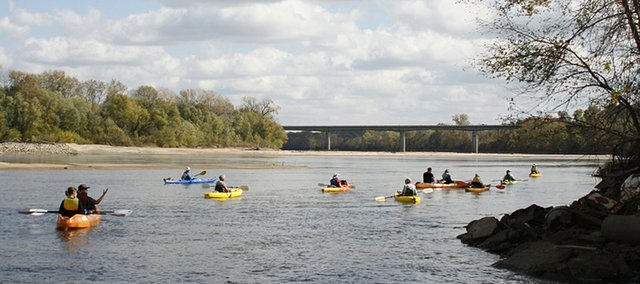 A Friends of the Kaw-sponsored community float trip heads down the Kansas River from the De Soto entry in 2010. The river preservation group will have its annual dinner next week.
