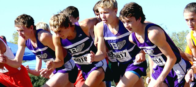 Baldwin runners (from left)  Dakota Helm, Joe Pierce, George Letner and Nevin Dunn start the 5K race at the 4A regional cross country meet Saturday at Ottawa.