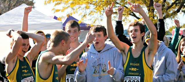 Members of the Basehor-Linwood boys cross country team celebrate after learing their place in the team standings at Saturday's state meet. The Bobcats finished sixth.