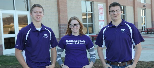 Tonganoxie High School graduates, from left, Ben Williams, Lacie Falk and Matthew Christensen are members of the Kansas State University ChemE Car Team that recently advanced to nationals.