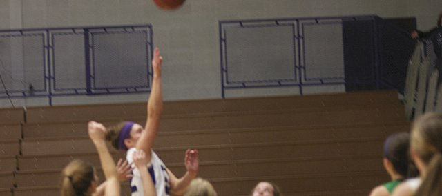 Katie Jones put up a floater in the lane late in Baldwin's 57-43 lose to Jefferson County North. The Baldwin senior had 15 points in the game.