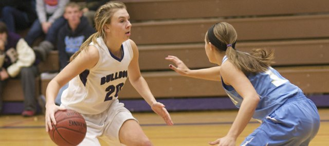 Baldwin junior Maddie Ogle looks to drive Monday during the second half of the Bulldogs' victory against Chanute. Baldwin will play Iola at 6 p.m. Wednesday in the BJHS Gym in its second game of pool play in the Bulldog/Wildcat Classic.