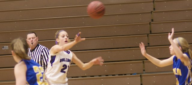 Madeline Neufeld breaks Iola's press Wednesday in the Bulldogs' 57-22 victory against the Mustangs. The sophomore guard scored nine points win the win. Baldwin advanced to play Louisburg a 6 p.m. Friday at the BJHS gym for the Bulldog/Wildcat Classic championship.