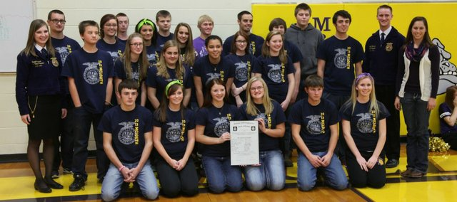 The McLouth FFA Chapter officially becomes part of the national organization. Formerly Future Farmers of America, FFA started this school year in McLouth. State FFA officers were on hand for a ceremony at the MHS Gold Gymnasium during a recent afternoon assembly.