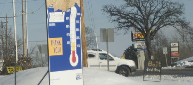 The United Way campaign sign in front of Santa Fe Market needs updated but the latest figures would still show the local effort fall well short of its goal. There is still time to give this year and earn a deduction for this year's taxes.