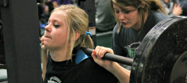 Cassie Tucker lifts during the BLHS lift-a-thon, which raised about $4,000 for the program on Dec. 17.