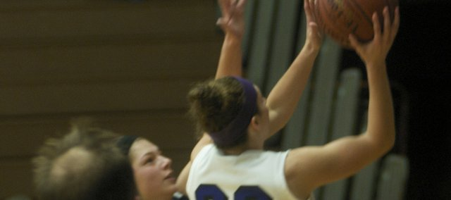 Katie Jones scores in the second half Tuesday of Baldwin 54-37 victory against Eudora. The senior guard had a game-high 16 points in the team's win against its rival.