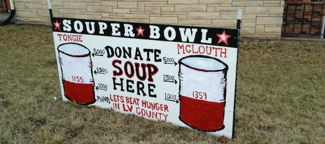 A sign outside Tonganoxie United Methodist Church shows that McLouth has started the first weekend of the Souper Bowl Challenge with about 200 more points. McLouth church members have gathered 779 cans to Tonganoxie's 701 after the first weekend.