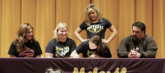 Konner Patterson, a three-time All-State selection, has signed with Highland Community College.