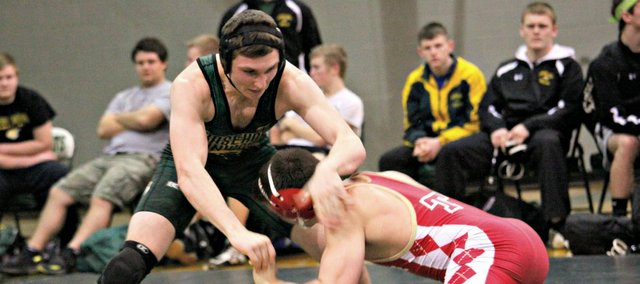 Cory McCleary was one of two Basehor-Linwood wrestlers to pin his opponent in a 42-20 dual win against Tonganoxie. The win marked the final home action for eight Bobcat seniors.