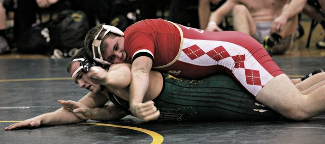 Zeke Kissinger was one of four Tonganoxie High wrestlers to win his match in a dual Thursday at Basehor-Linwood. The Chieftains couldn't overcome five open weights in a 42-20 loss.
