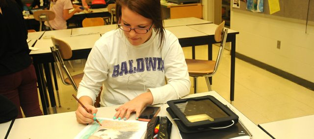 Katie Langhehr works on a colored-pencil drawing of her cat, which is part of a series she is doing for an advanced placement drawing class at Baldwin High School.