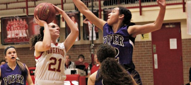 Sarah Ahart had her first double-double of the season Friday against Bishop Ward.