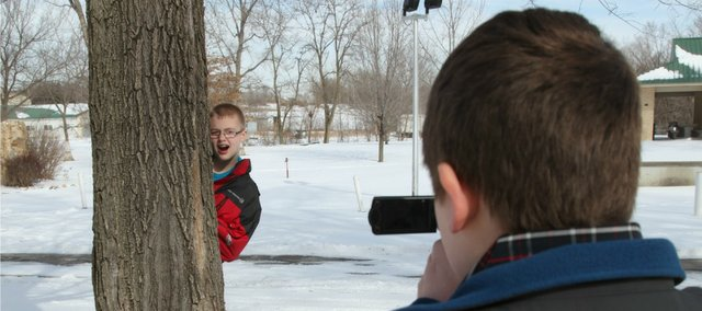 Adam DeMaranville films friend Blake Phillips earlier this week. The two worked together to put together an informational video for the Tonganoxie Police Department.