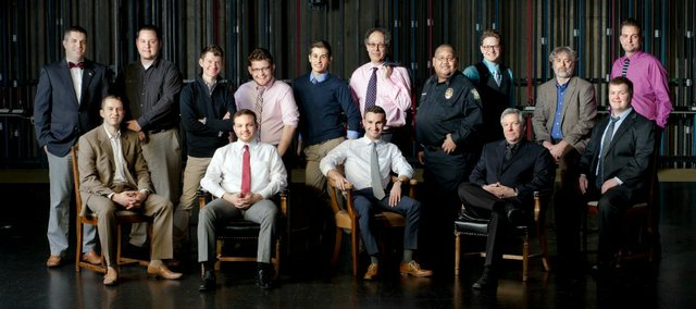 Bret Koch, seated third from left, is one of this year's Kansas University Men of Merit. Koch, a junior at KU, is a 2010 Tonganoxie High School graduate.