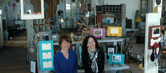 Sisters Geralyn Minshew and Kim Scott say about 16 vendors who will sell repurposed furniture, clothing and other crafty items at their new business in Downtown Bonner, Flip Kansas City.