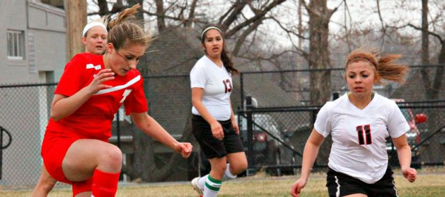 Joanna Filbert scored the first two girls of her high school career in a 7-1 win Wednesday at Bishop Ward.