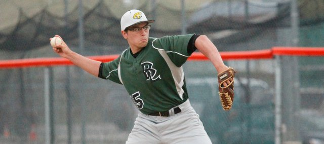 Basehor-Linwood's Andrew Mangana threw a complete game in the second game of a doubleheader Tuesday at Bonner Springs. The Braves won the first game, 4-2, and the Bobcats won the second, 18-3.