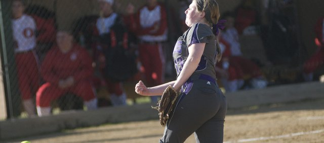 Baldwin High School Kinley Burton was big in the Bulldogs' double-header sweep Tuesday of Ottawa. The freshman pitched two complete games victories.