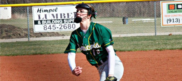 Madison McDowell pitched five shutout innings Tuesday at Tonganoxie. Basehor-Linwood won both games against the Chieftains, 11-0 and 17-2.