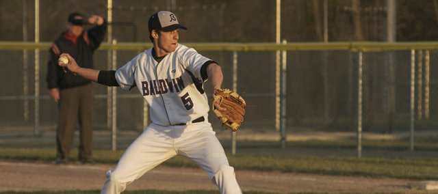 Baldwin senior Brandon Mock pitched to perfect innings in relief while striking out four, picking up a save in the second game of the Bulldogs' doubleheader sweep Thursday against Wellsville.