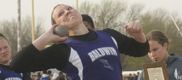 Baldwin Junior Alexia Stein established herself as one of the top high school throwers in the state at any level with gold-medal performances in the shot put and discus this past week at the Pre-State Class in Wichita and the Baker Relays.
