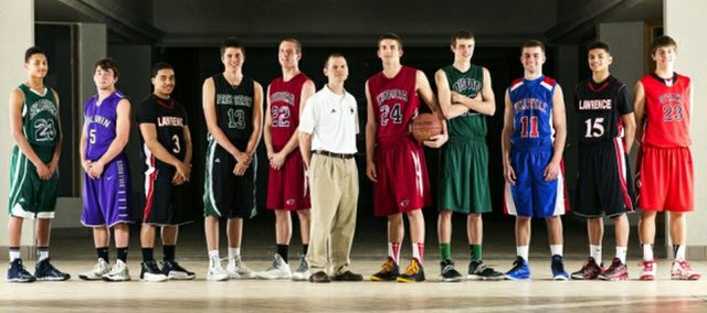 The 2014 Journal-World All-Area Boys Basketball team, from left, Mikey Wycoff, Seabury Academy; Chad Berg, Baldwin; Justin Roberts, Lawrence; Cole Moreano, Free State; Andrew Ballock, Eudora; Kyle Deterding, Eudora; Mitchell Ballock, Eudora; Quinton Verhulst, De Soto; Carter Mann, Wellsville; Anthony Bonner, Lawrence; and Isaac McCullough, Ottawa.