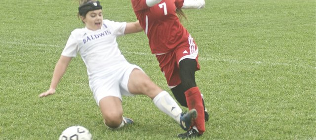 Baldwin senior Katie Schwalm cuts off an Ottawa player Monday during the Bulldogs 3-1 victory on senior night.