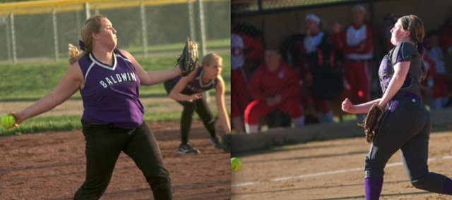 Junior Kassadie Burton (lef) and her freshman sister Kinley gave the Baldwin High School softball team a solid 1-2 punch in the circle this spring. The two will go on to play club ball for the summer.