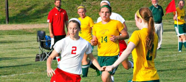 Emily Hummelgaard scored a goal in Tonganoxie's 3-0 win Tuesday against Basehor-Linwood.